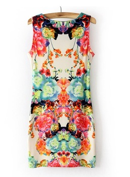 0124 Floral Printed Dress 2014 Summer  O-neck  Vintage  Sleeveless One-piece Women Casual Dress
