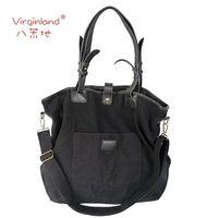 Cotton Canvas Shoulder Bag genuine leather ladies'  Handbag Shopper Canvas Tote Bag