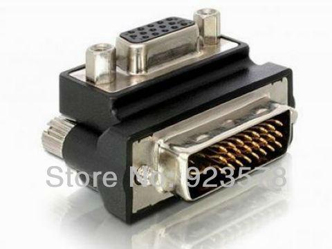 WHOLESALE 10pcs/lot Right Angled 90 Degree VGA SVGA Female To DVI 24+5 male DVI to VGA RGB Adapter(China (Mainland))