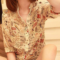 Free shipping 2013 spring and summer . doodle chiffon shirt female top