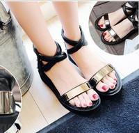 2014 platform wedges platform gold hasp leather sandals flat brief