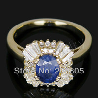 Jewelry Sets Vintage Oval 5x7mm Solid 14Kt Yellow Gold Diamond Sapphire Ring SR0002F