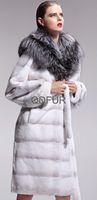 2014 Female Genuine Sheared Rex Rabbit Fur Coat women's  Winter Long Warm Hooded Silver Fox Overcoat Garment (QD27560A)