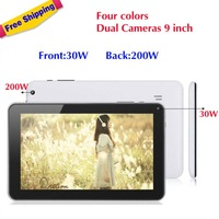 Free shipping four colors,Dual Cameras 9 inch AllWinner A13 Android 4.0 512M 8GB Capacitive Touch Screen Webcam Tablet PC