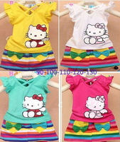 1set 2013 summer Girl hello kitty casual mini dress suit/kids Print rainbow stripe novelty clothing/tshirt+skirt girls dress set