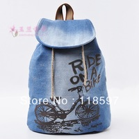 Water wash denim travel bag cartoon fashionable casual backpack in primary school students school bag
