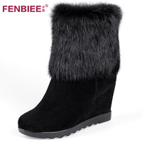 2012 women's autumn and winter shoes wedges platform round toe ankle  snow boots genuine leather rabbit fur boots