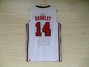 USA 1992 Games Dream team #14 Charles Barkley white Basketball men's Sports Olympic Jersey,Embroidery Logos,Size 44-54