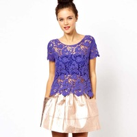2013 free shipping  fashion three-dimensional sculpture embroidered  short-sleeve o-neck lace shirt female t-shirt 59