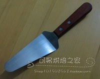 Triangle pizza shovel wooden handle stainless steel pizza shovel cake shovel cattle cheese shovel diy tool