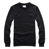 Black loop pile sweatshirt o-neck solid color loose casual basic pullover long-sleeve 100% cotton heat transfer blank sweatshirt