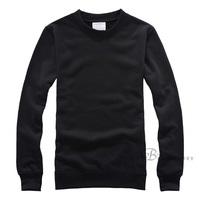 Black loop pile sweatshirt o-neck solid color loose casual basic pullover long-sleeve 100% cotton heat transfer blank sweatshirt