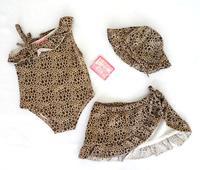 Children's clothing imagine me triangle set leopard print quality double layer female child swimwear set child swimwear