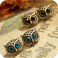 E87  exquisite vintage owl stud earring  free shipping (Min order $10 mixed order)