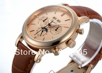 New Fashion Rose Gold Dial Men Watches 2014 Christmas Gifts for boyfriend Casual leather strap business mens wrist watch 825YM