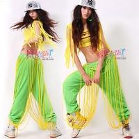 Women new fashion 2014 summer spring Neon green Hip hop Jazz dance clothes punk Hip hop dance wear