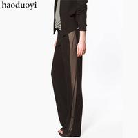 2014 new design sense STUDIO haoduoyi side tassel pants black side through suit pants