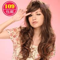 Schoolgirl 2013 popular wig long curly hair oblique bangs fluffy jumbo jiafa women's fake hair set  free shipping