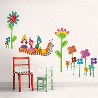 Free shipping 2pcs/lot 50*70cm Caterpillars Cartoon Wall Stickers 3rd generation living room bedroom TV adhesive stickers