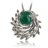 Collage 925 pure silver jewelry vintage green agate thai silver red garnet phoeni necklace pendant female