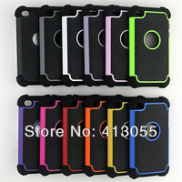 Wholesale 100pcs/lot New Fashion 3 in 1 Hybrid Rugged Rubber Gel Combo Hard Soft Silicone Cover Case For iPod Touch 4 4TH 4G GEN