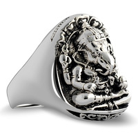 Collage 925 pure silver jewelry thai silver elephant mammographies lucky evil ring male