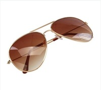 Fashion Men Women Metal Shades Classic Retro Aviator Oversize Sunglasses Coffee