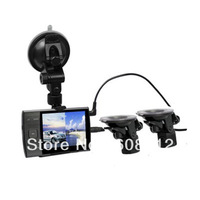 Security 3.5 inch LCD Vehicle Car Camera Video DVR Recorder double Outer camera lens S3000A Free Shipping