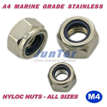 500pcs/lot DIN985 M4 A4 Marine Grade Stainless Nyloc Lock Nuts Locknut