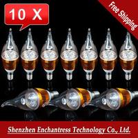 Free Shipping 10Pcs/Lot E14 6w Bridgelux Warm White/White Candel LED Light Blub Lamp