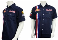 Discount Short Sleeve Shirt F1 Racing Team Workwear M-XXL Size Famous Brand LOGO Car Work Shirt Deep Blue Color Pit Crew Shirt