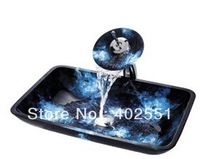 Free shipping bathroom Victory Rectangular Blue Tempered glass Vessel Sink With Waterfall Faucet, Mounting Ring and Water Drain