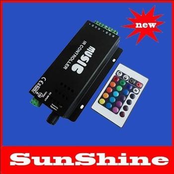 new DC12/24V 180W 24key IR Remote Control Aluminum Led RGB music controller & Audio sound sensitive for RGB led strip light