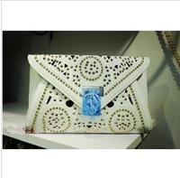 2013 new style hollow rivet envelope bag handbag Thomas Rhinestone punk skull clutch evening bag Messenger Bag