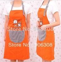 Free Shipping New Fashion Orange Canvas Kitchen Aprons Cartoon Cat Cooking Apron Kitchen With Stripe Pocket