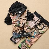 Fashion Camouflage print velvet set short-sleeve capris sweatshirt set fashion