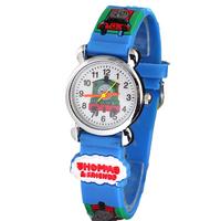Free Shipping Lovely 3D Cartoon Thomas Tank Engine Watch Children Kids Girls Boys Students Quartz Wristwatches.