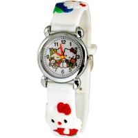 Free Shipping Lovely 3D Cartoon white hello kitty Watch Children Kids Girls Boys Students Quartz Wristwatches.