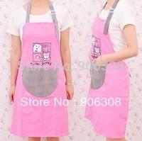 Free Shipping New Fashion Pink Canvas Apron Kitchen Aprons Cartoon Cat Cooking Apron Kitchen Stripe Pocket