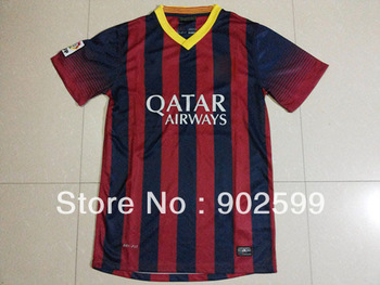 New arrival 13/14 fans version B home red/blue best quality soccer jersey, cheaper soccer jerseys, LFP patch
