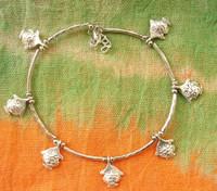 (Min order $10) National trend accessories jewelry tibetan silver tibetan jewelry dollarfish silver anklets jl019