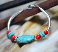 (Min order $10) Handmade unique national trend accessories tibetan silver tibetan jewelry vintage turquoise bracelet sl068