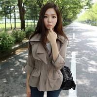 2013 autumn women's slim trench casual fashion slim waist spring and autumn women's short jacket overcoat