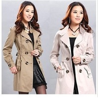 2013 spring fashion autumn and winter slim outerwear women's trench plus size double breasted spring and autumn