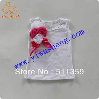 wholesale plain children t shirts with flower(15pcs/lot)