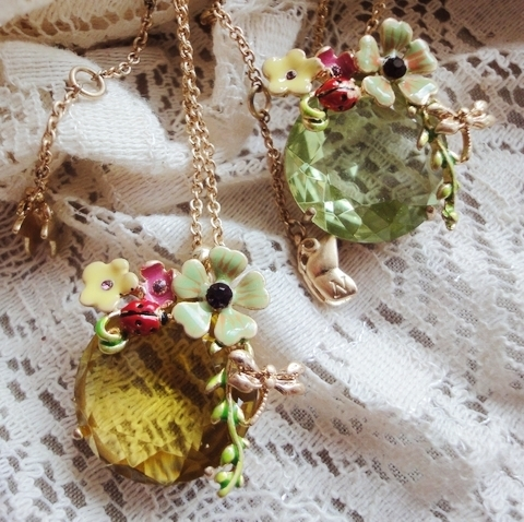2013 fashion jewelry party europe style 2-color big bling shinning green yellow crystal flower necklace L*S N*R*ID*S(China (Mainland))