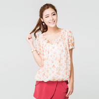 L5581 plus size clothing 2013 summer new arrival pleated ruffle o-neck shirt sweet print chiffon shirt