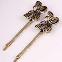 Retro Bronze hollow butterfly alloy Hairpin Factory directly sale Free shipping