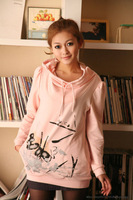 2013 Free shipping thick vintage women  hoodies clothing sweet printed hoodies sweatshirts for ladies pink/gray