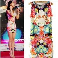 CL342 Fashion angelababy symmetry circulating doodle print fancy flower female one-piece dress